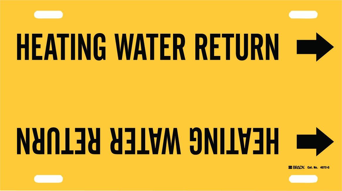 Brady 4072-G Brady Strap-On Pipe Marker, B-915, Black On Yellow Printed Plastic Sheet, Legend Heating Water Return