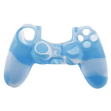 Gengbilin9 Practical Silicone Skin Case and 2 White Thumb Stick Grips for PS4(Blue + White)