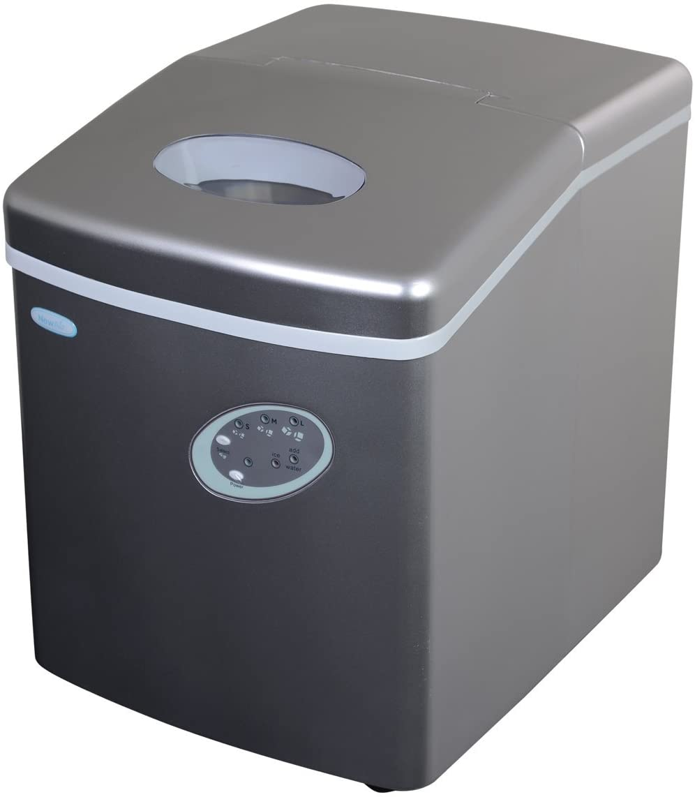 NewAir Portable Ice Maker 28 lb. Daily, Countertop Compact Design, 3 Size Bullet Shaped Ice, AI-100S, Silver (Renewed)