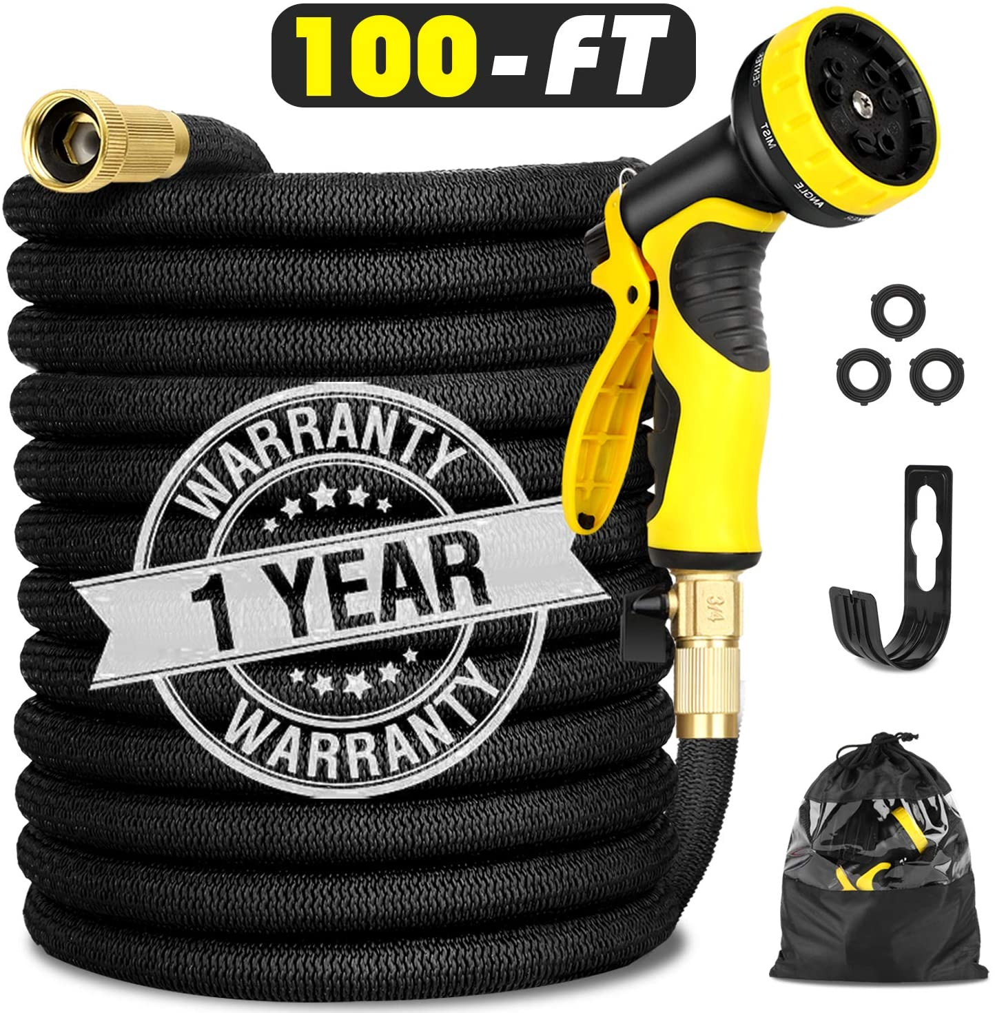 """Garden Hose Expandable 100FT, Flexible Water Hose with Powerful Nozzle Spray, Car Wash Hose with Good Pressure, Expanding hose with 3/4"""" Brass Connector, Hose with Metal 9 Function Spray NozzleStorage"""