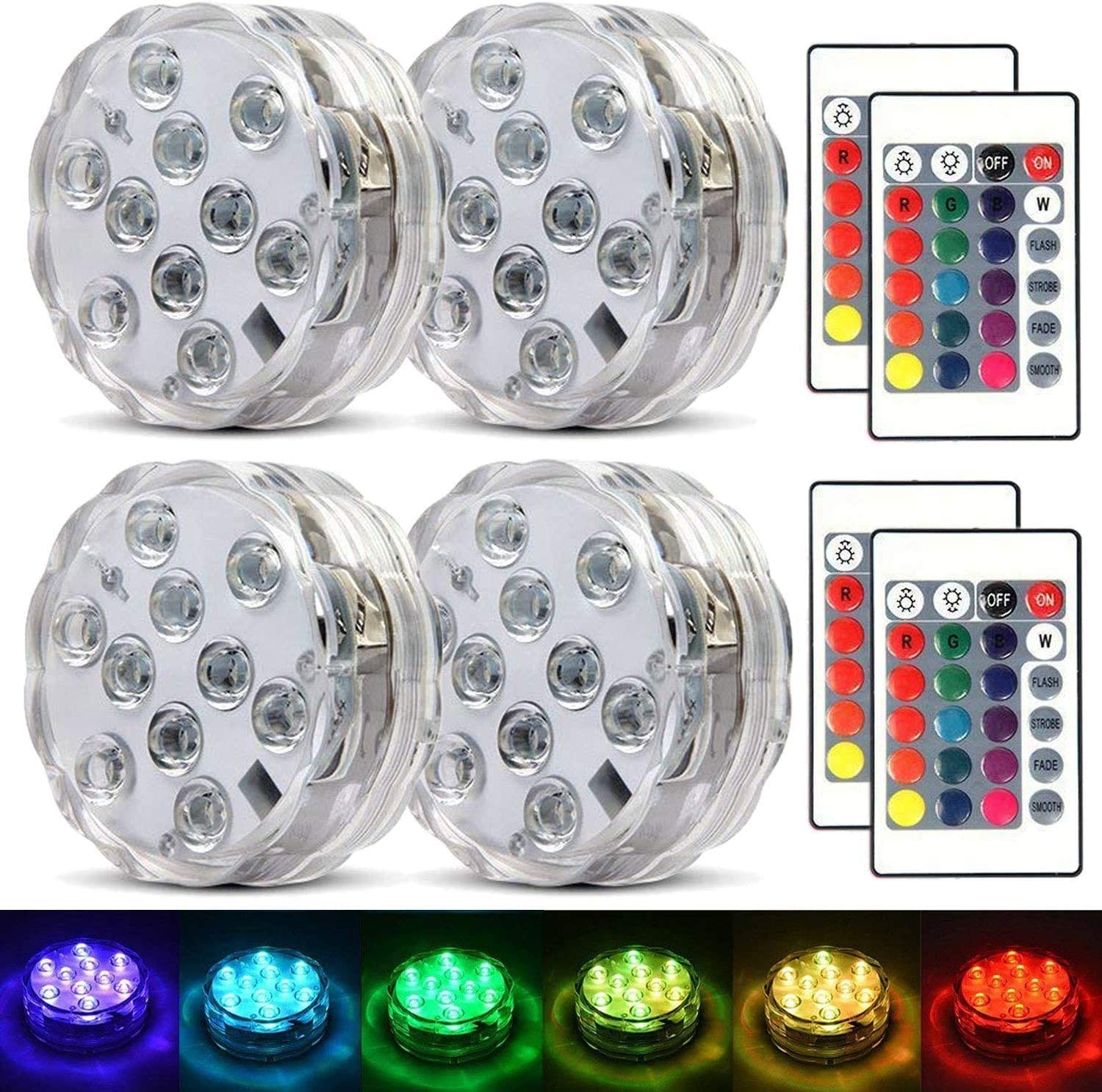 NDHENG 4 Pack Submersible LED Lights Waterproof Multi-Color Battery Remote Control, Party Perfect Decorative Lighting, for Hot Tub, Pool, Pond,Foundation,Party,