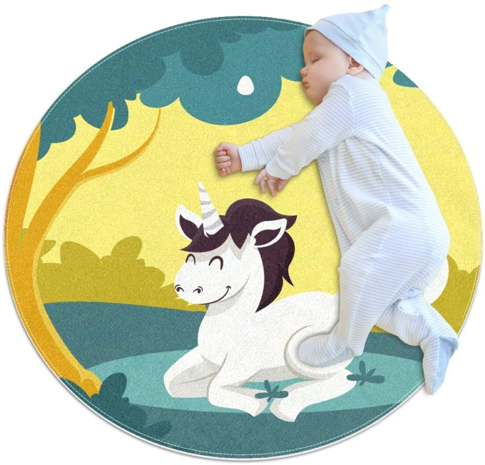 Unicorn Under Cartoon Tree Kids Playmat Round Soft Modern Rugs for Floor Non-Slip for Room Decorations 31.5x31.5IN