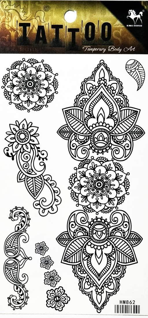 PP TATTOO 1 Sheet Aum Om Yoga Buddha Hindu Infinity Lotus Flower Buddhism Fashionable Henna Temporary Tattoos Make up Neck Shoulder Upper arm Thigh Waterproof Stickers for Men Women Sexy Body Art