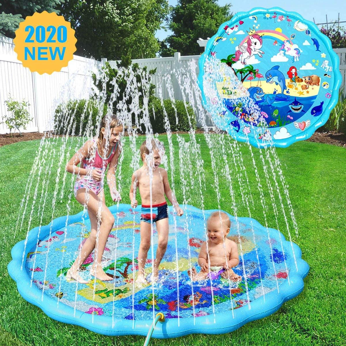 Splash Pad for Kids, Unicorn Upgraded 2020 Version Large 68'' SprinklerPlay Mat Backyard Summer Fun Water PadOutdoor Play Sprinklers for 1-12 Years Boys Girls