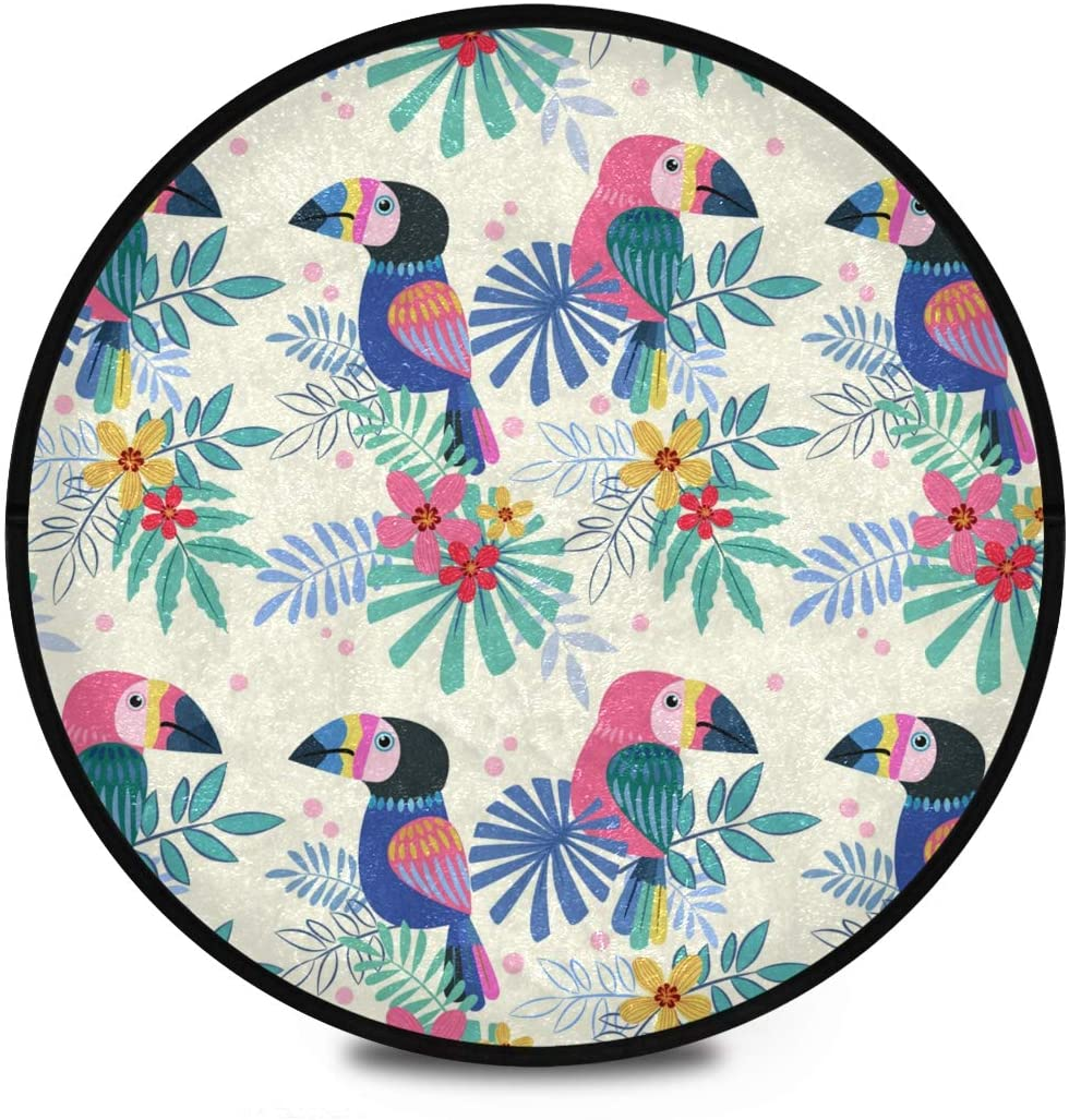 Shaggy Round Mat Cute Bird Toucans Small Round Rug for Kids Bedroom Anti-Slip Rug Room Carpets Play Mat