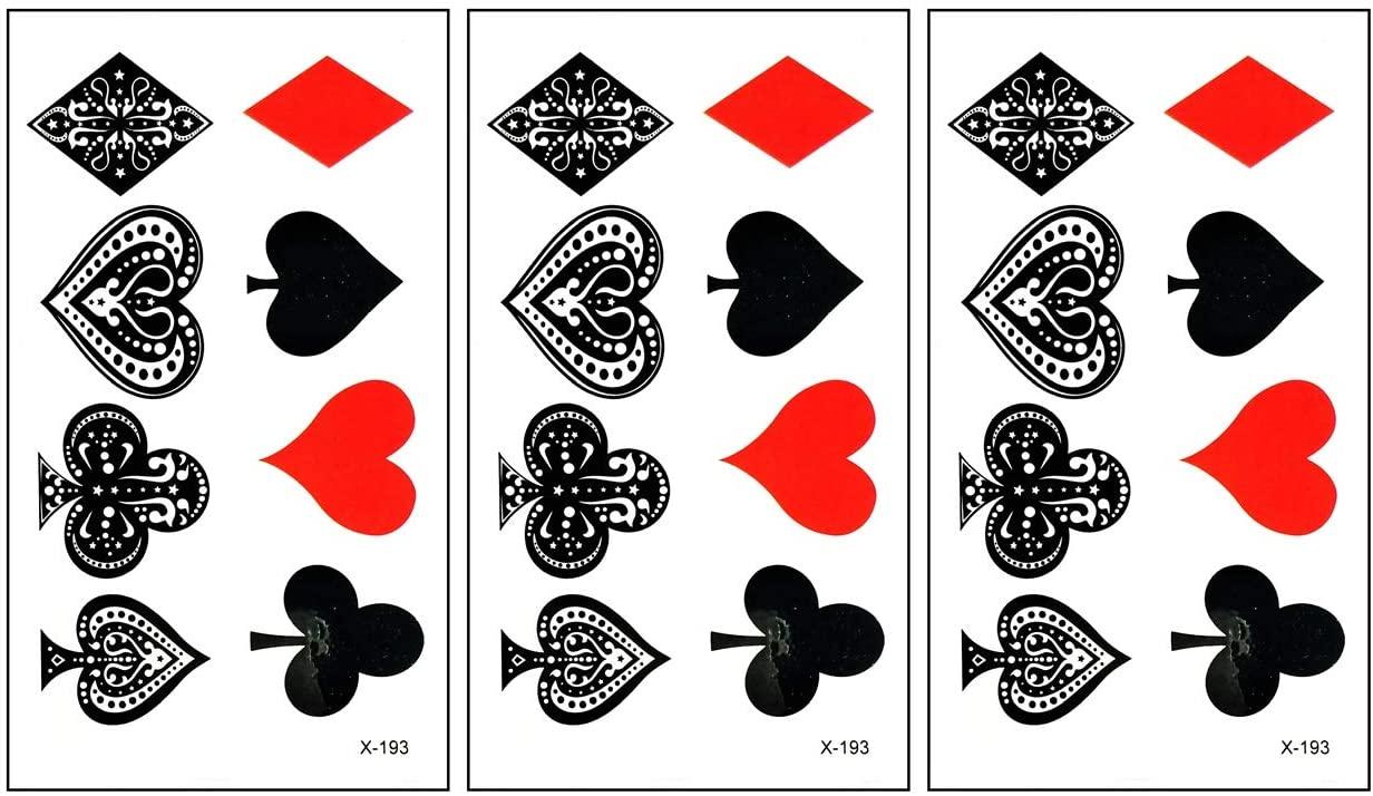 PARITA Small Tattoos Poker Royal Flush Gambling Winner Playing Card Casino Temporary Tattoo Fake Body Tattoo Removable Style Fashion Fantasy Fun Party (Pack 3 PCS.) (07)