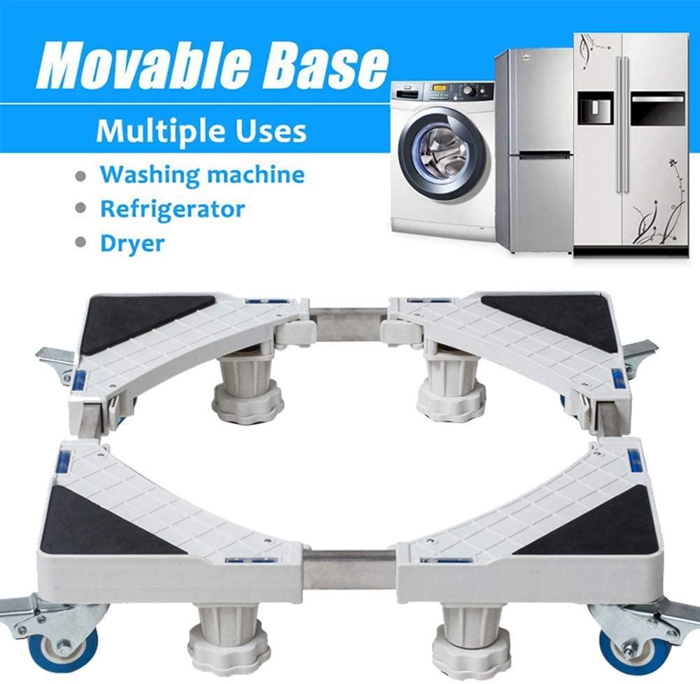 Washing Machine Floor Stand Adjustable Fridge Movable Trolley Base Holder Anti-skid for Refrigerator Dryer Machine,White