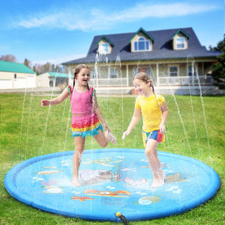 PELLOR. Kids Water Spray Pool Toy, PVC Sprinkler Cushion for Summer Fun Beach Outdoor Lawn Garden Patio Play (Dia 170CM/66.93IN, Blue)