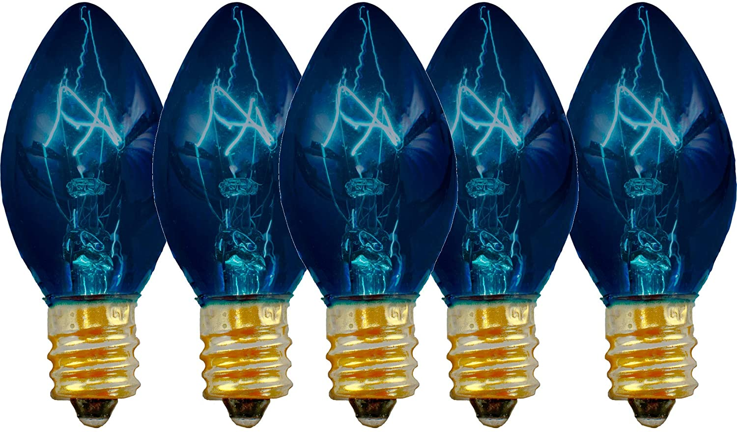 EST. LEE DISPLAY L D 1902 Indoor & Outdoor String Light C7 Ceramic Christmas Steady Replacement Bulbs (Clear Glass, Blue)