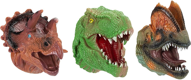 Master Toys & Novelties Triceratops T-Rex Dilophosaurus 7 x 4 Rubber Hand Puppets Assorted Set of 3