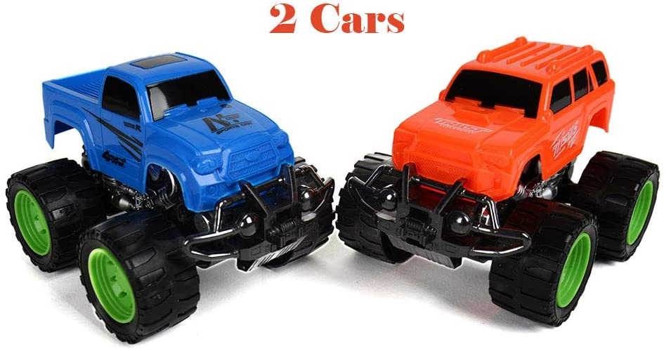 Roxie Friction Powered Monster Trucks Toys for Boys Girls Push and Go Toy Car Vehicles