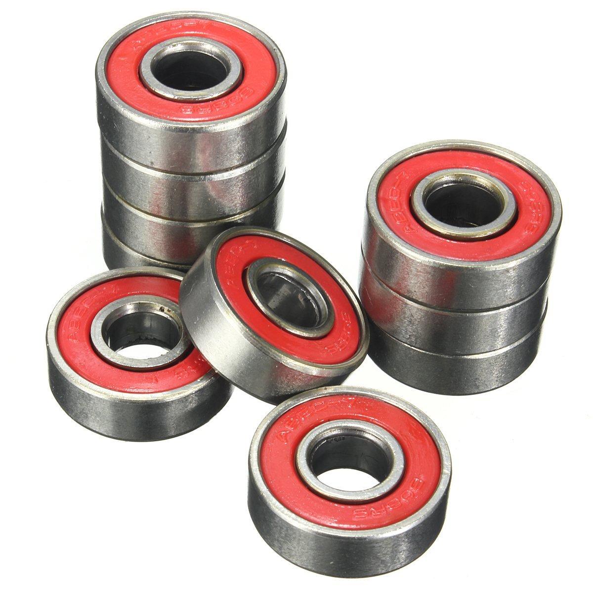 Ochoos 10pcs ABEC-5 608 2RS Inline Roller Skate Wheel Bearing Anti-Rust Skateboard Wheel Bearing Red Sealed 2.1 x 2.1 x 0.7cm Shaft