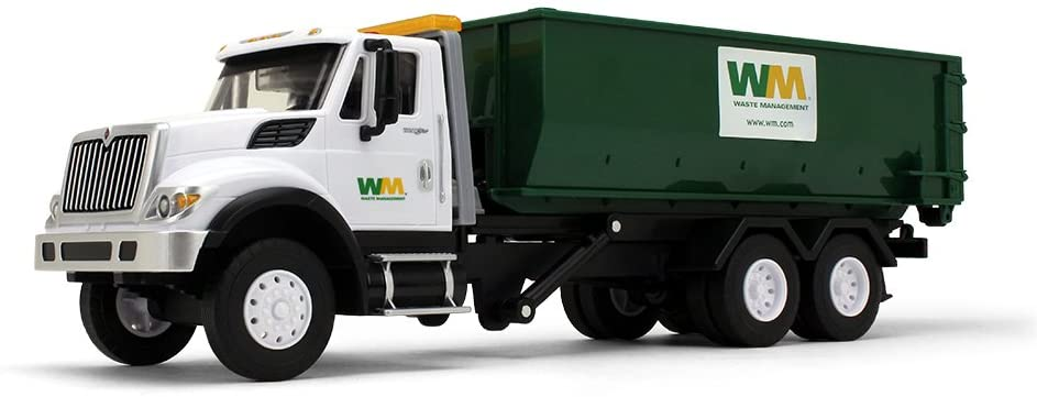 First Gear 1/24 Scale Plastic Toy Waste Managment International WorkStar with Roll-Off Container inducing Lights & Sounds (#70-0580)