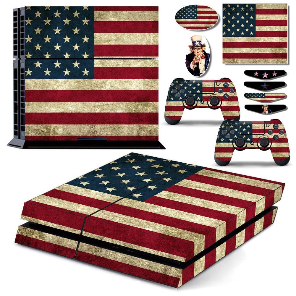 US American Old Flag Vinyl One PS4 Console Skin & Two Play Station 4 DualShock 4 Controller Decal Cover & Eight LED Light Bar Sticker Set for Sony Playstation 4