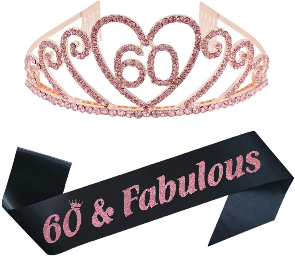 60th Birthday Party Supplies 60th Birthday Pink Tiara and Sash Kit Rhinestone Princess Crown and Glitter Satin Sash for Happy Birthday Party Favors, Decorations