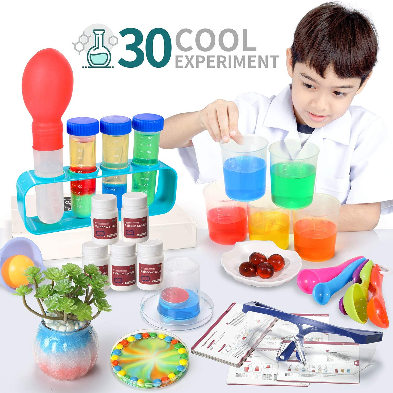 SNAEN Science Kit with 30 Science Lab Experiments,DIY STEM Educational Toys for Kids Aged 3 4+,Discover in Learning,Non-Hazardous,Bottle Packaging