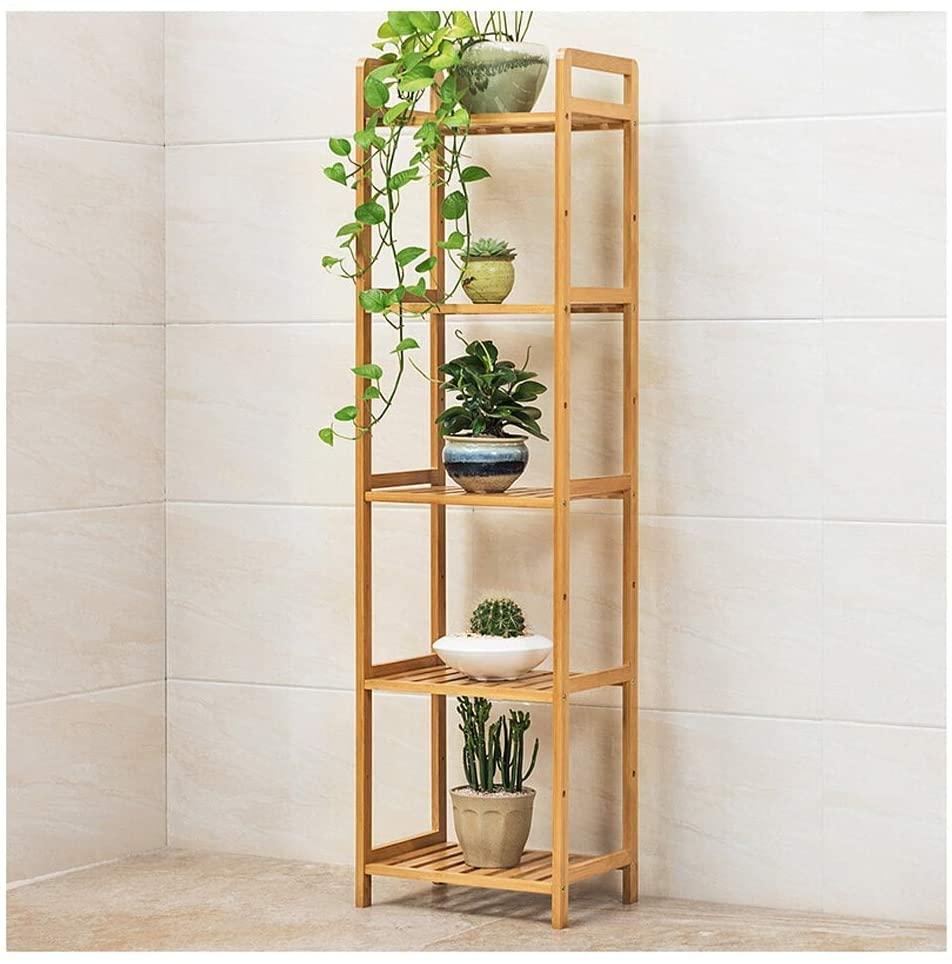 QNN Plant Stands,Bamboo Multi-Layer Balcony Flower Stand Floor-Standing Living Room Pot Rack Indoor Flower Rack Storage Rack Decorative Flower Pots,3525128Cm