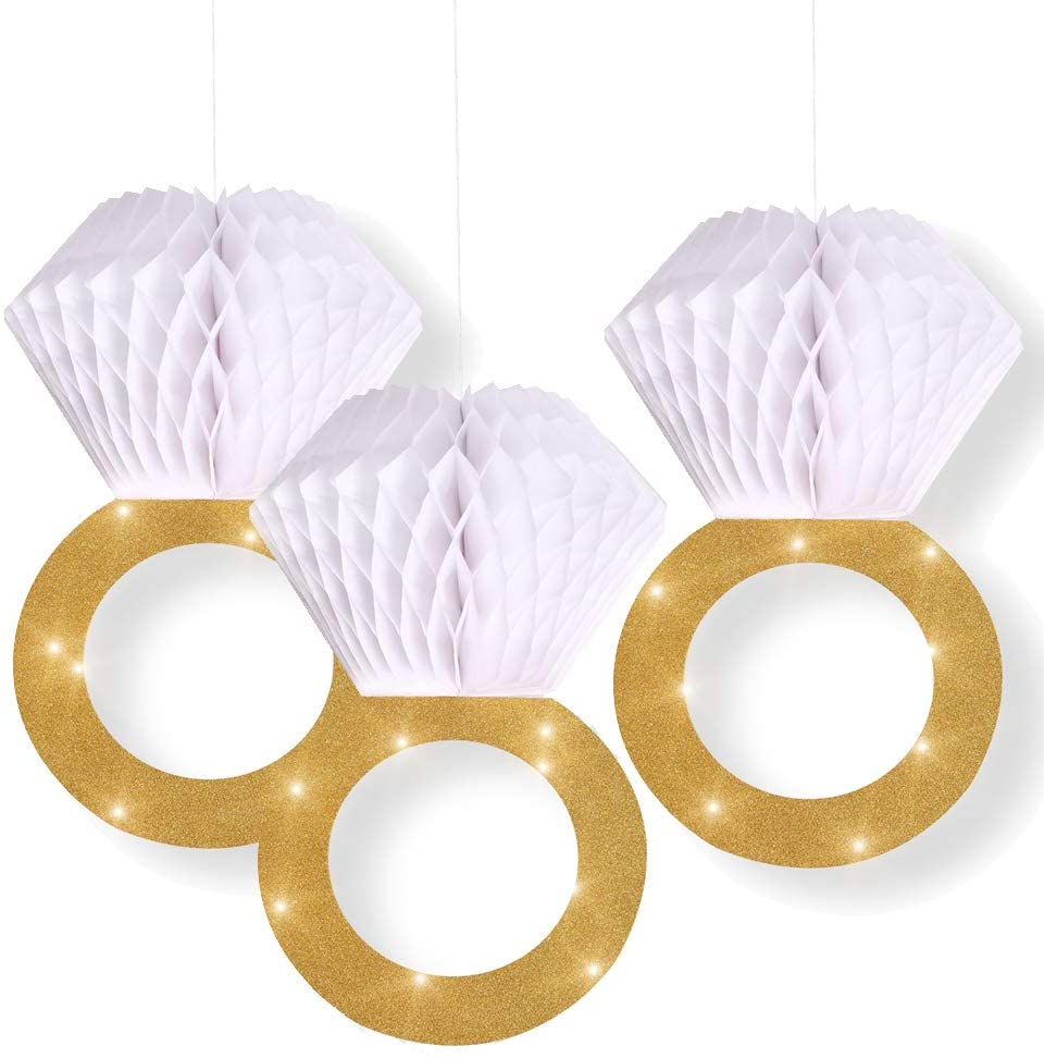 Bachelorette Party Decorations|Bridal Shower Supplies| Honeycomb Ring Hanging Decorations,Glitter Gold Diamond Ring,Perfect for Engagement Wedding Party And Bridal Shower
