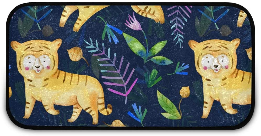 Rectangle Shaggy Rug Rugs Kitchen for Kids Tiger Kitchen Anti-Slip Rug Rectangle Carpet Play Mat