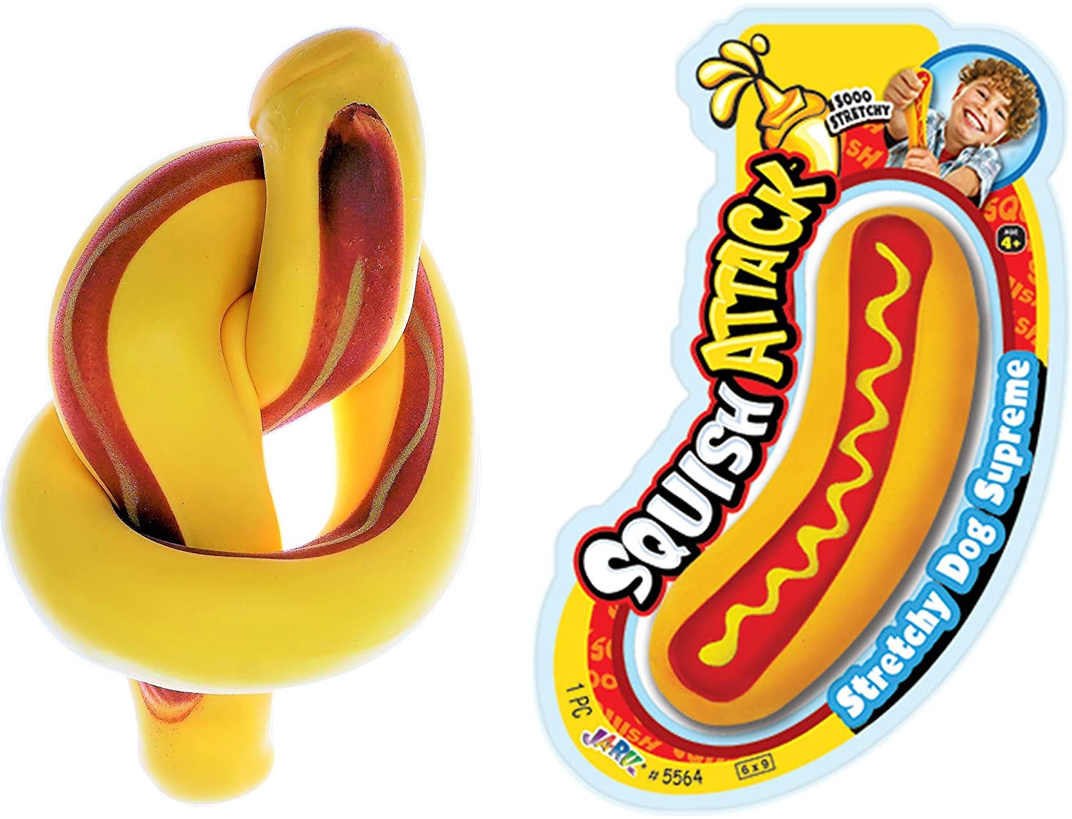 JA-RU Stretchy Hot Dog Squishy Toys (1 Unit) Anxiety Stress Relief Toys   Sensory Toys for Autistic Children Kids and Fidget Stress Toys for Adults. Great Party Favor Supply. 5564-1A