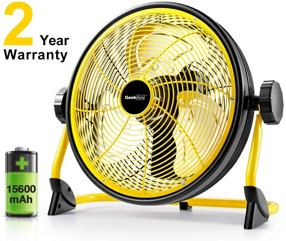 Geek Aire Fan, Battery Operated Floor Fan, 15600mAh Rechargeable Powered High Velocity Portable Fan, Air Circulator Fan with Metal Blade, up to 24h Run Time for Camping Travel Storm 12 Inch (Renewed)