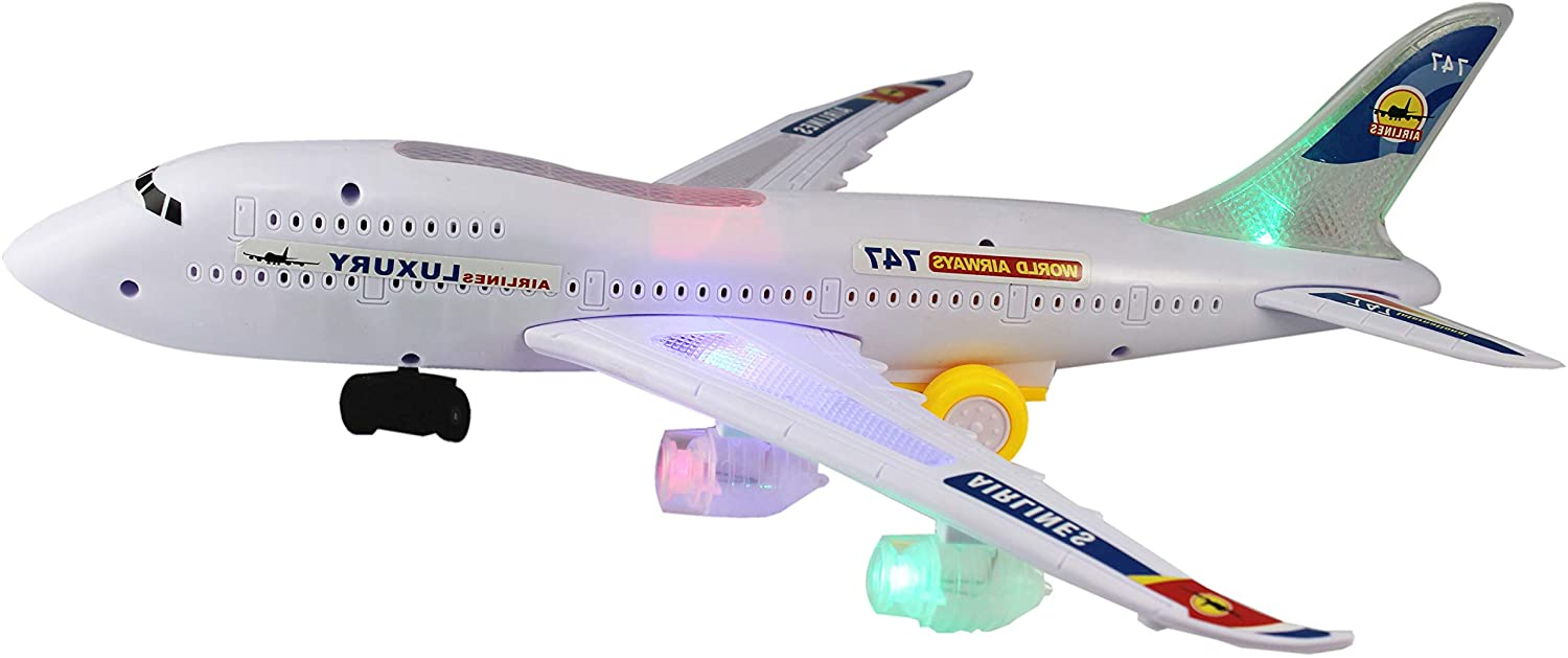 P&F Airplane 747 Electronic Toy Bump & Go Auto Action w/ Flashing Colorful LED Lights & Aircraft Engine Sounds