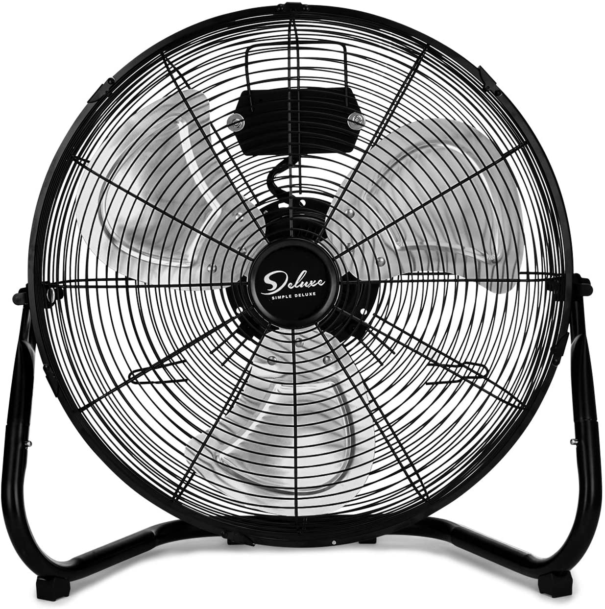 Simple Deluxe 20 Inch 3-Speed High Velocity Heavy Duty Metal Industrial Floor Fans Oscillating Quiet for Home, Commercial, Residential, and Greenhouse Use, Outdoor/Indoor, Black