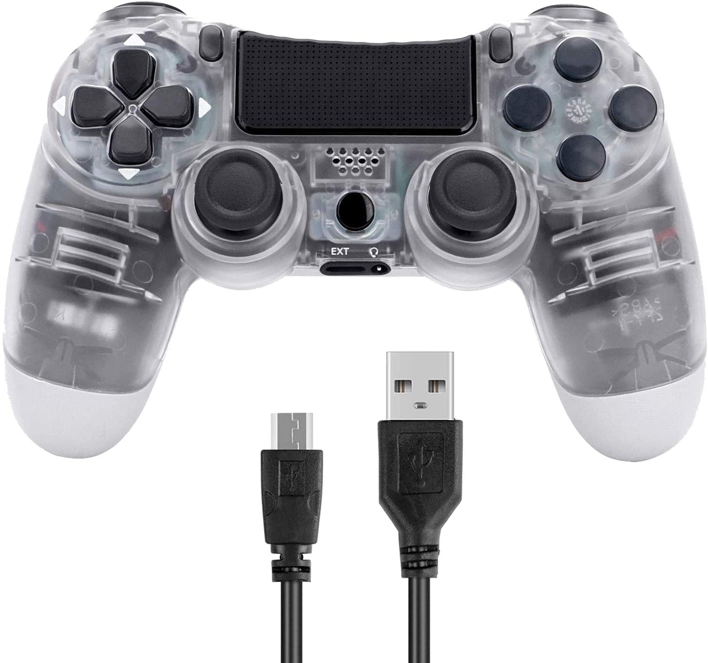 Poulep Wireless Controller for PS4 Playstation 4 Dual Shock (New Model, ClearWhite)