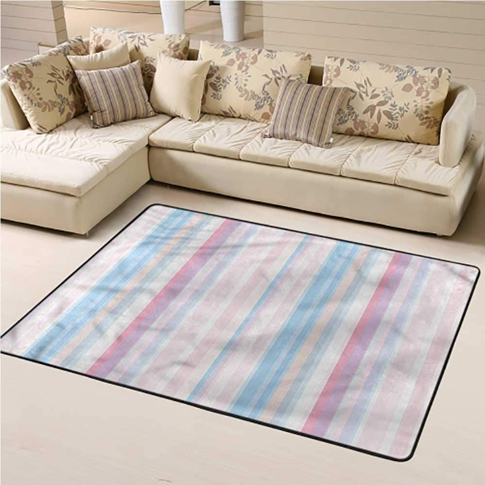 Indoor Rug Abstract for Kids Playroom Soft Pastel Straight Bands 4' x 6' Rectangle