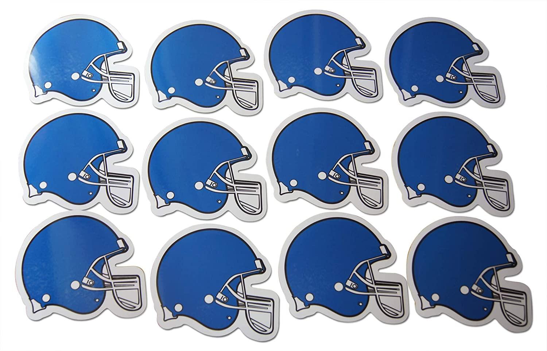 Novel Merk Football Helmet Blue Small Refrigerator Magnets Set for Party Favors & Carnival Prizes Miniature Design (12 Pieces)