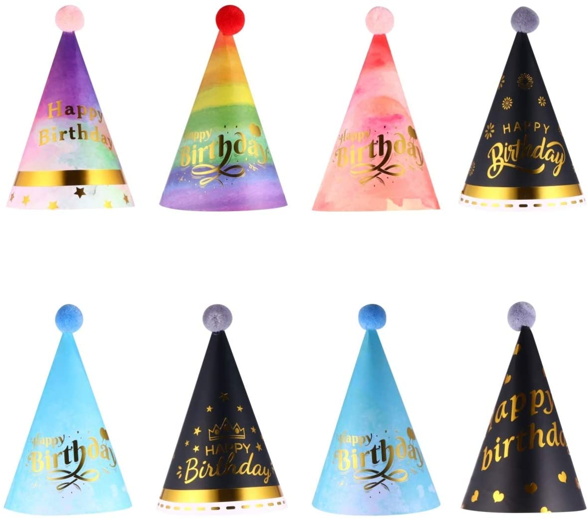 KESYOO 8pcs Birthday Party Cone Hats Paper Birthday Cap Hat Headband Set for Kids Birthday Party Favors Baby Shower Party Accessories