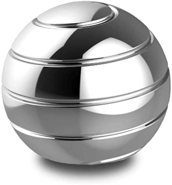 Innoo Tech Kinetic Desk Toys Full Body Optical Illusion Spinner Ball, Metal Stress Ball for Adults Anxiety Release Gifts for Men, Women, Kids - Silver