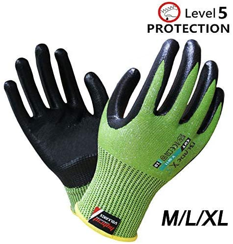 KARBONHEX V-5011 Gardening Working Gloves Nitrile Eco-friendly Breathable, Anti-skid, Knit Palm, Level 5 Cut Resistant, EN388 Certification, for Gardening, Fishing, Restoration Work (L,V-5011)