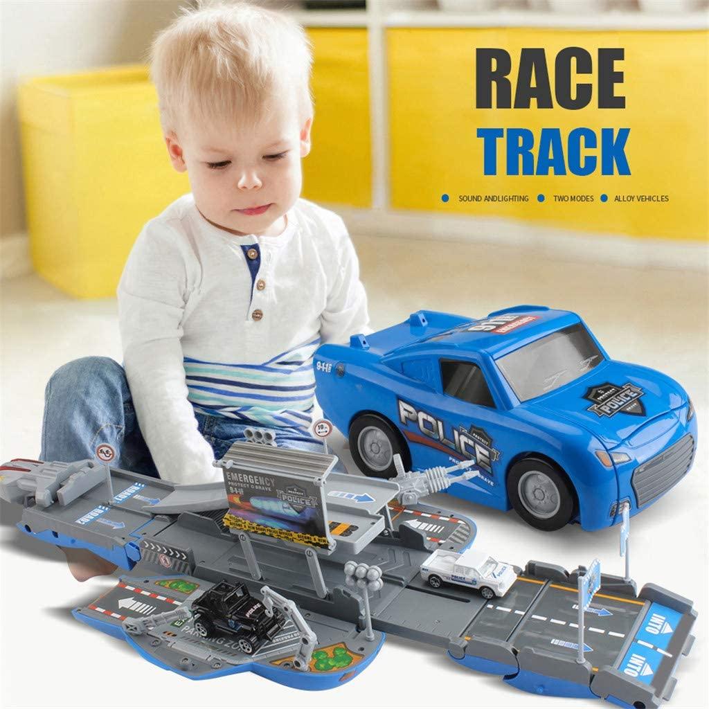 Anyren Deformation Race Track Parking Storage Vehicle Police Car Educational Kids Toys