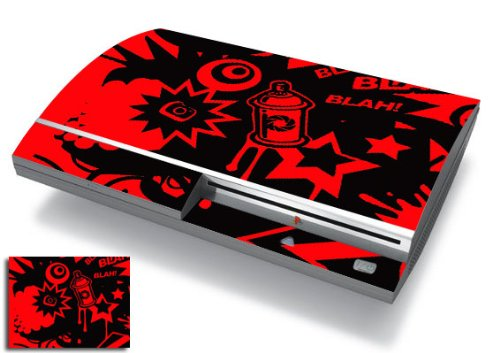 Bundle Monster Vinyl Skins Accessory For Sony Playstation PS3 Game Console - Cover Faceplate Protector Sticker Art Decal - Red Spray Cartoon