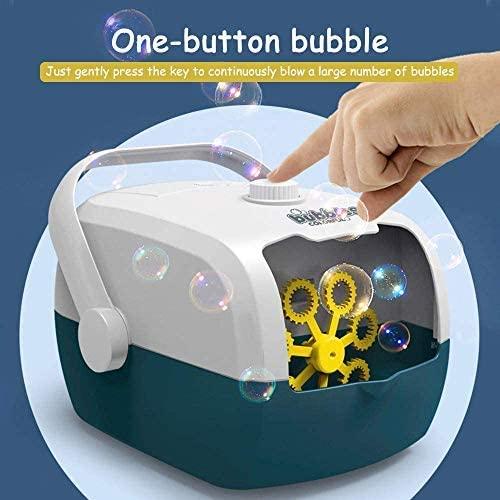 ETE ETMATE Automatic Bubble Machine, Portable Rechargable Bubble Maker, High Output Indoor Outdoor Bubble Blower, for Kids Party Decoration