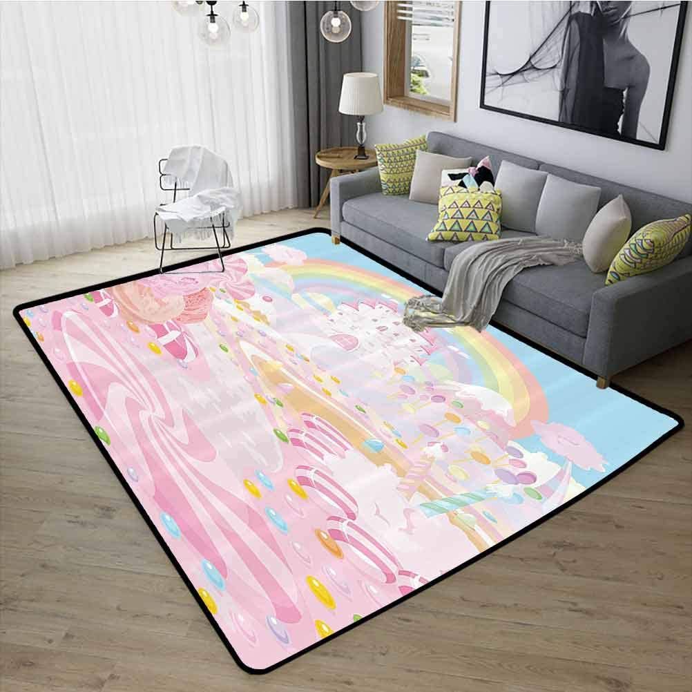 Teen Girls Decor Collection Sofa Carpet, Fashions Natural Style Anti-Skid Area Rug for Kids Nursery Lollipops on The Road to Fairy Kingdom Colorful Rainbow in The Clear Sky Image, W15 x L23 Pink Blue