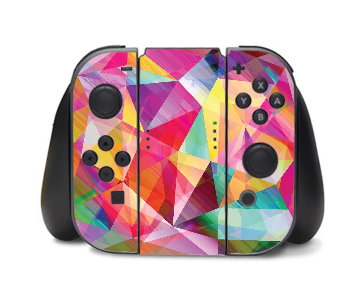 Bright Rainbow Polygon Design Vinyl Decal Sticker Skin by egeek amz for Nintendo Switch Controller