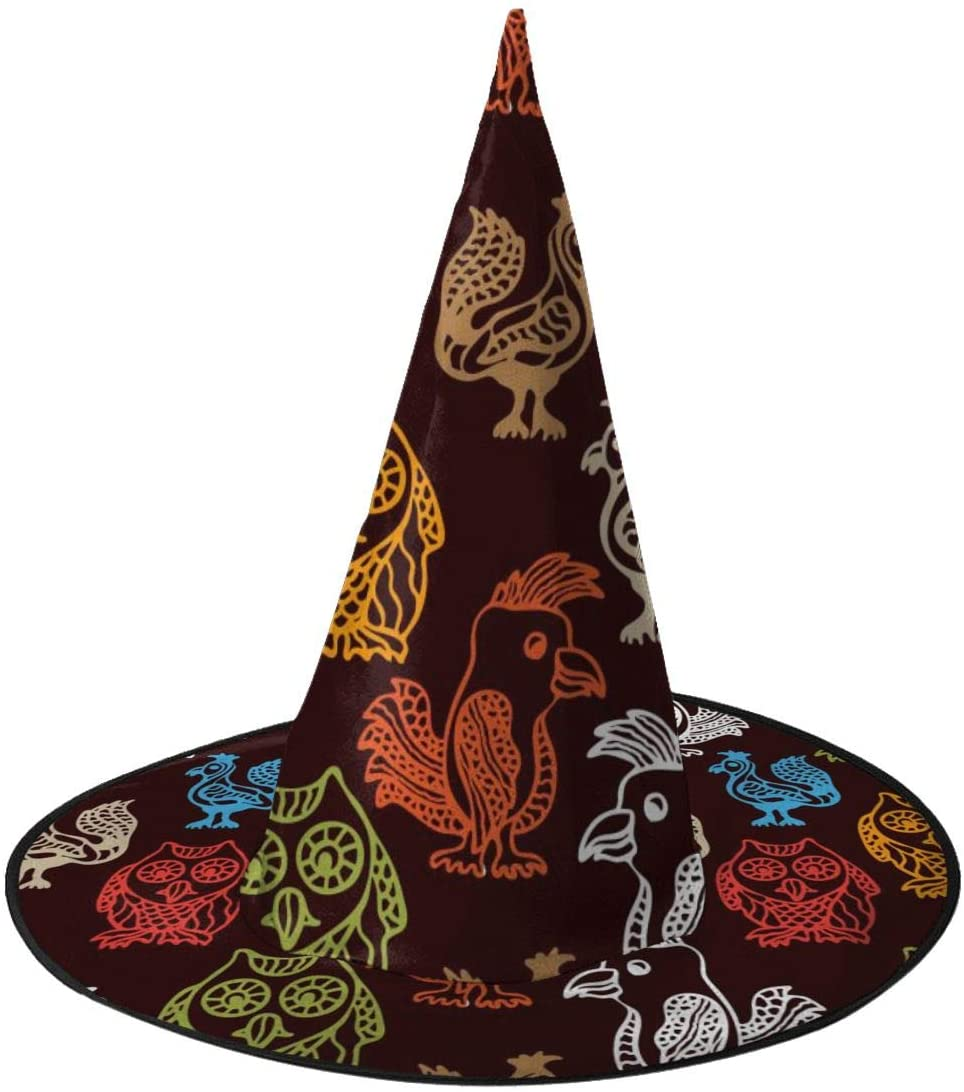 Halloween Witch Hat,Seamless Pattern With Owls. Halloween Costume Witch Hat for Holiday Party