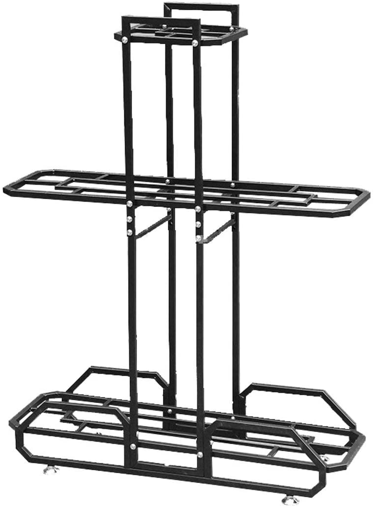 KMMK Plant Stand,Flower Stand Metal 3 Layers Flower Stand Suitable for Living Room Balcony Size ×103.5 × 79 × 27Cm | 3 Color Shelf,Black