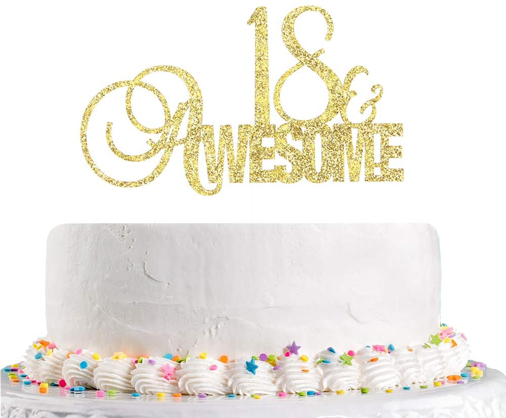 Talorine Glitter 18 Awesome Cake Topper for 18th Wedding Anniverdary Number 18 Theme Happy 18th Birthday Party Decorations