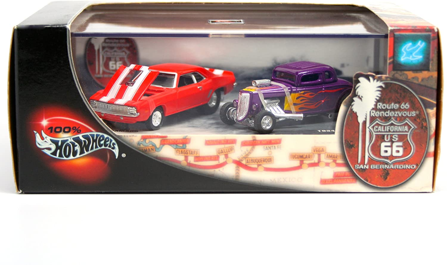 1969 CAMARO & 1934 FORD * Limited Edition * Hot Wheels 2001 ROUTE 66 RENDEZVOUS 1:64 Scale 2-Car Custom Vehicle Box Set