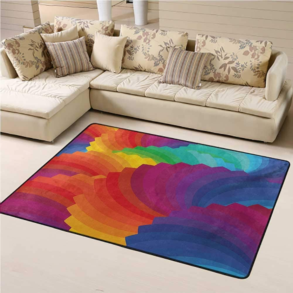 Rugs and Carpets Colorful Kids Carpet Modern Gradient Dash Sea Shell Inspired Wavy Dimension Palette Stripes Artisan 6 x 9 Ft Multicolor