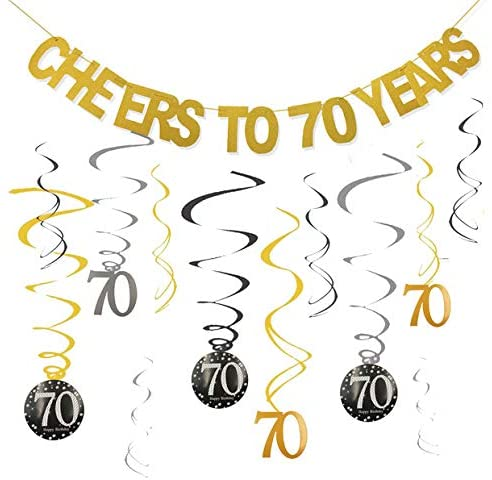 70th Birthday Party Decorations KIT - Cheers to 70 Years Banner Swirls for Women Men 70th Birthday Party Decorations