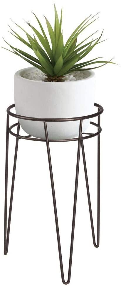 mDesign Midcentury Modern Flower, Plant, and Succulent Stand Minimalist Planter - Metal, Indoor, Outdoor Design Hairpin Legs - Sturdy - Bronze