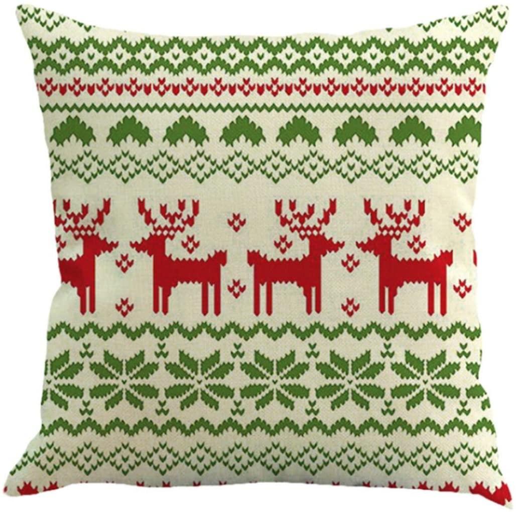 AmyDong Christmas Christmas Printed Pillowcase Happy Christmas Pillow Cases Linen Sofa Cushion Cover Home Decor Multicolor Pillow Case (F)