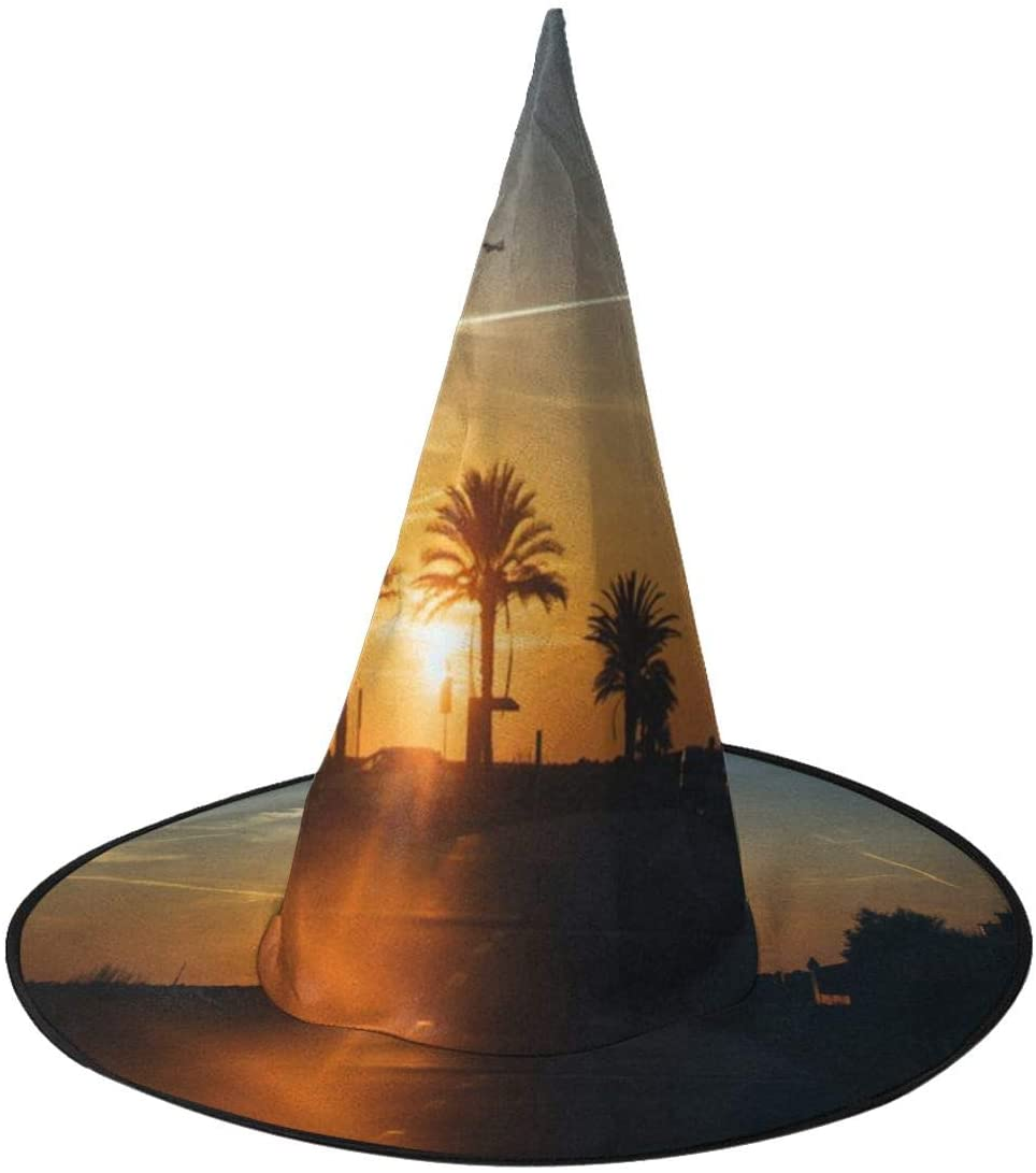 Halloween Costume Witch Hat,Beautiful Sunset Light Accessory for Holiday Halloween Party