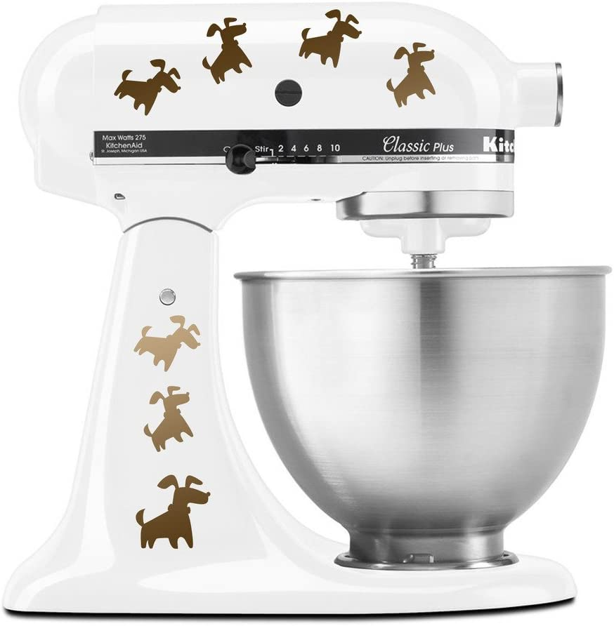 Cute Puppy Dogs Jumping all Over Puppies - Vinyl Decal Set for Kitchen Mixers - Copper