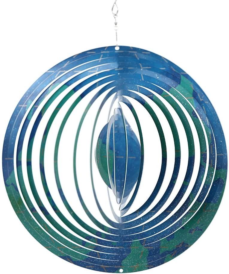 DUSVALLY Wind Spinner Stainless Steel Wind Sculptures Ornaments for Indoor Outdoor Garden Decoration,Blue