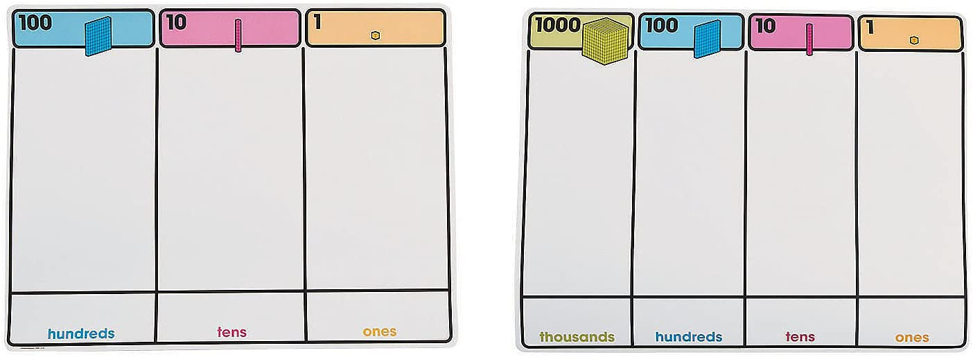 Fun Express Base Ten Place Value Mat - 10 Pieces - Educational and Learning Activities for Kids